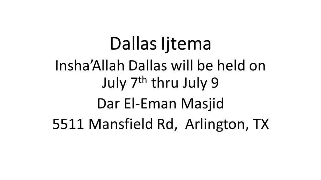 Dallas Ijtema – Plano Masjid