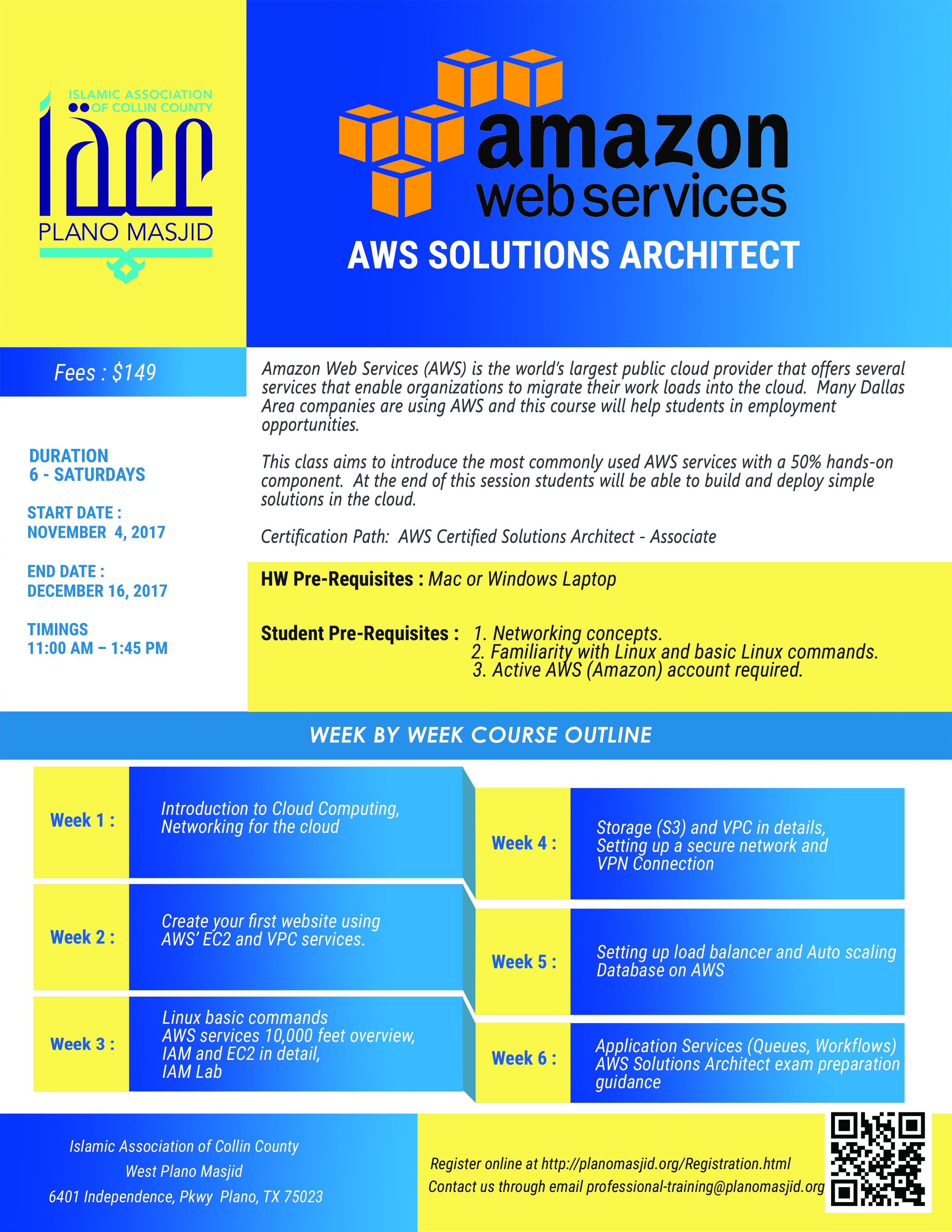 Iacc technology course announcement 2017 amazon webservices iacc technology course announcement 2017 amazon webservices aws solutions architect plano masjid xflitez Gallery