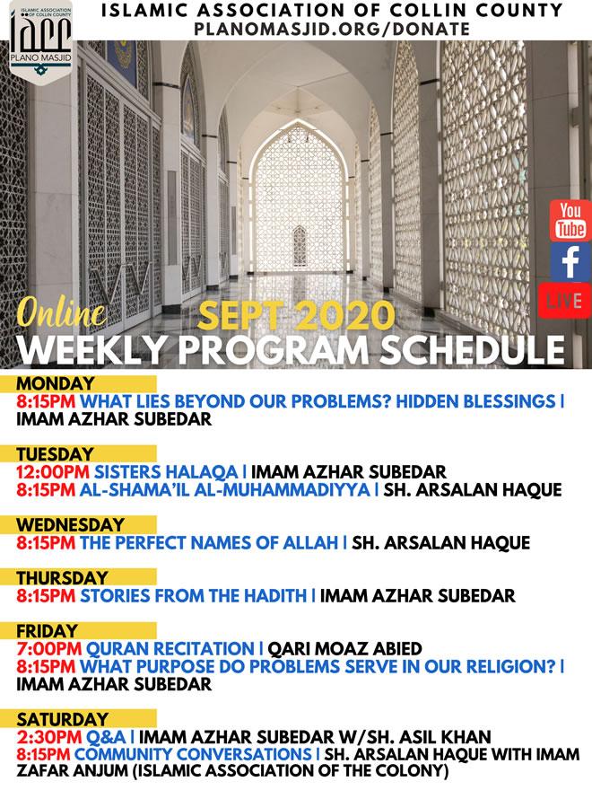 Sept -2020 weekly program schedule